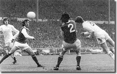 Allan Clarke plunges forward to nod home a super goal in the 1972 FA Cup final against Arsenal