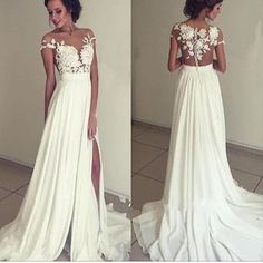 2017 Long White Appliques Floor-Length Charming Evening Party Prom Gown Dresses. PD0252