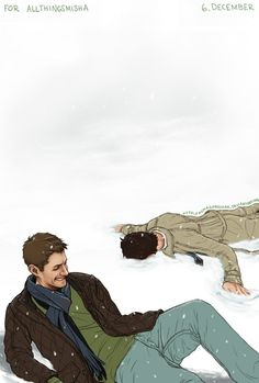 "Imagine dean going on top of cas from behind him. Cas' hair is full of snow so he says: ""I'm going to do a snow angel...""<<<<<<SHITT JUST GOT REAL<<<<--- Someone make a fan fiction of this ASAP"