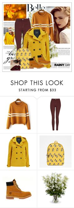 """""""Rainy day"""" by amra-hasic ❤ liked on Polyvore featuring Topshop, Maison Scotch, Zara, Timberland and New Growth Designs"""