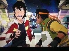 Keith and Hunk running for their lives from the security guard from Voltron Legendary Defender