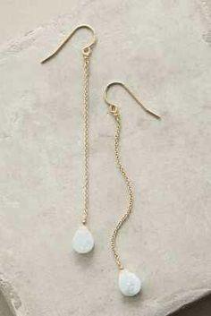teardrop earrings on long chain