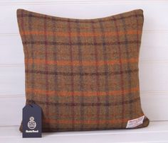 Harris Tweed Green and Orange Cushion Cover  throw by GreenCallow