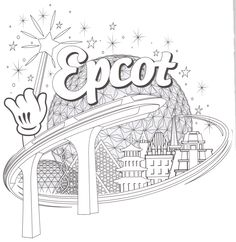 Epcot - Spaceship Earth - World Showcase - Coloring page