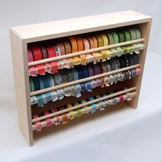 If you're tired of rummaging through a jar or drawer to find your washi tape, the Stamp-n-Storage Washi Tape Holder will provide you with nearly four feet of shelf space. You can keep your washi tape collection right at your fingertips. Your colorful tape Washi Tape Storage, Washi Tape Crafts, Ribbon Storage, Washi Tapes, Paper Storage, Craft Room Storage, Craft Organization, Organizing, Craft Rooms