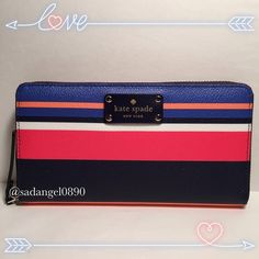 """KATE SPADE NEDA WELLESLEY PRINTED STRIPES WALLET • Leather and Fabric Interior • Zip Around Closure • Gold Plated Hardware • 12 Card Slots, Interior Slip and Currency Pockets • Zip Coin Pocket • Exterior Full Length Pocket • Measures Approx. 7.5"""" L X 4"""" H • Includes Kate Spade Gift Bag, Care Card and Price Tag kate spade Bags Wallets"""