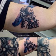 Tattoo by Gareth Doye. #astronaut #space #color #sketch #ink #tattoo #kaklucky