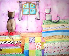 """""""Gatos, gatitos y edredones""""  Watercolor by Kira Mamontova. No sé cómo, pero estos gatos saltaron de mi web a Pinterest!"""