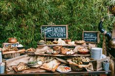 rustic outdoor wedding dessert bar ideas / http://www.deerpearlflowers.com/wedding-food-bar-ideas/