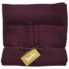 Linoto 100% Linen Sheets Bed Sheet Set Queen Malbec 4 Piece