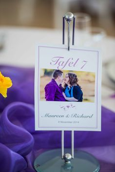 Monte Vista Venue purple table number printed and hung from a silver and glass stand