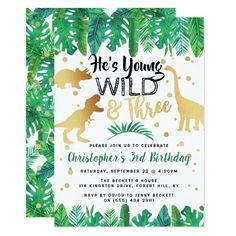Young Wild & Three Dinosaur Boys 3rd Birthday Invitation Dinosaur Birthday Invitations, Dinosaur Birthday Party, Birthday Invitation Templates, Boy First Birthday, 4th Birthday Parties, Boys 2nd Birthday Party Ideas, 4th Birthday Party For Boys, Elmo Party, Twin Birthday