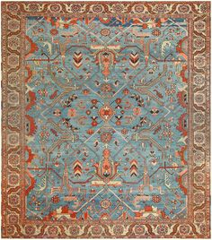 Antique Persian Serapi Carpet 47974 Detail/Large View - By Nazmiyal