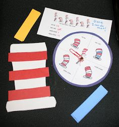 FREE Spin a pattern game. (AB-AB, ABC-ABC, ABBA, AABB) Teachers can whole-group assess as children play. Can also run the hat off so students can color a pattern, or rip & tear construction paper and glue a pattern. Dr. Seuss, Dr Seuss Hat, Dr Seuss Activities, Hands On Activities, Winter Activities, Therapy Activities, Therapy Ideas, Toddler Activities, Classroom Freebies