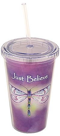 Just Believe Dragonfly Insulated Travel Cup at The Rainforest Site ~ Only $6.99 ! Preserves 1 Acre Of Rainforest