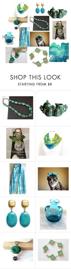 """""""Green Turquoise"""" by anna-recycle ❤ liked on Polyvore featuring Kenneth Jay Lane, modern, rustic and vintage"""