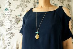 Blue Bird oval locket long necklace  turquoise blue by soradesigns, $28.50