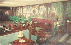 C1940s Postcard Gypsy Tea Kettles Tea Cup Reading Fortune Telling Restaurant NYC