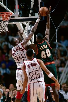 One of the many Olajuwon blocked shots.    For all the latest Houston Rockets news and updates, visit www.rockets.com.