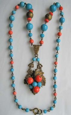 Vintage Czech ornate necklace coral and turquoise by GemParlor, $72.00