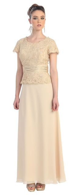 Formal Short Sleeve Mother of the Bride Long Dress Plus Size - The Dress Outlet - 20