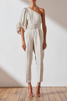 Shaw Linen One Shoulder Jumpsuit 80s Fashion, Fashion Dresses, Womens Fashion, Korean Fashion, Chic Outfits, Summer Outfits, One Shoulder Jumpsuit, Fashion Details, Fashion Design