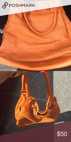 Orange Hobo purse Very spacious.. Silver accents. Like new. Bags Hobos