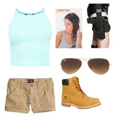 """""""Super Mary Face (Laura Croft Cosplay) Inspired ~ YouTube #13"""" by joyous-grace ❤ liked on Polyvore featuring American Eagle Outfitters, Ray-Ban and Timberland"""