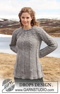 """Knitted Jumper with cables in 2 threads """"Alpaca"""" pattern by DROPS design Free Knitting Patterns For Women, Sweater Knitting Patterns, Hand Knitting, Crochet Patterns, Drops Design, Drops Patterns, Cable Sweater, Tunic Sweater, Crochet Clothes"""