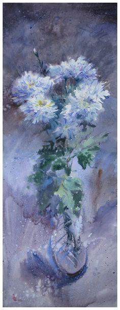 Venice Painting, Fire Painting, Original Paintings For Sale, Original Art, White Chrysanthemum, Flower Canvas, Impressionism Art, Watercolor Paintings, Watercolor Flowers