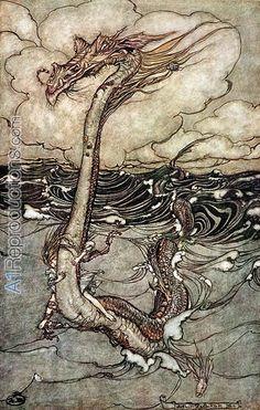 ✽   arthur rackham -'a young girl riding a sea serpent' -1904