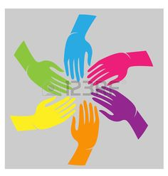 Teamwork hands colorful cultural people icon vector Stock Vector