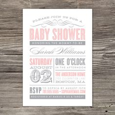 Old Fashioned Baby Shower Invitation by fineanddandypaperie