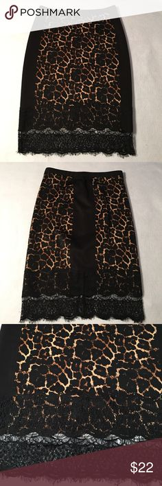 "Catherine Malandrino Leopard Print Skirt, Size M Straight cut stretch pull on skirt has a elastic waistband, and a black lace-edged hem. Waist measures 15"" flat. Hips - 18"" flat. Length waist to hem - 25"". Polyester & spandex fabric blend. New without tags. Catherine Malandrino Skirts"