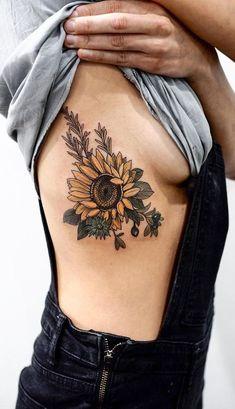 Realistic Sunflower Rib Tattoo Ideas for Women with Color  - ideas de tatuaje de costillas de girasol para las mujeres - www.MyBodiArt.com