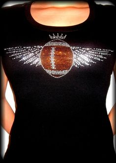 Super Bowl Sunday Rhinestone Football T-Shirt SkullsBonesTattoos