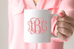 "You'll love starting your day off with our monogram mug. DETAILS: 3.75"" tall, 3""…"