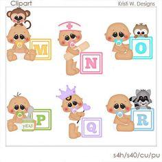SCRAPBOOKING DIGITAL CLIPART alfabeto bebés M-R por BoxerScraps