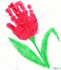 spring handprint flower