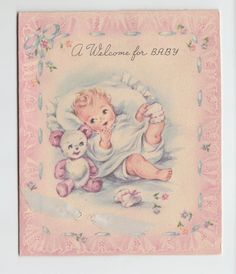 """Vintage Baby With Teddy Bear and Socks """"A Welcome for Baby"""" Greeting Card"""