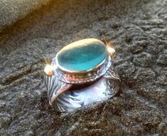 Cayucos Ring~English sea glass, reticulated silver, 18kt gold