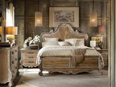 Capture the charm and character of European farmhouse style with this wood panel bed. Scroll detailing on the headboard, legs, and footboard apron highlight elegant shaping. A distressed Caramel Froth finish completes the bed with rustic warmth for a look that epitomizes livable luxury.