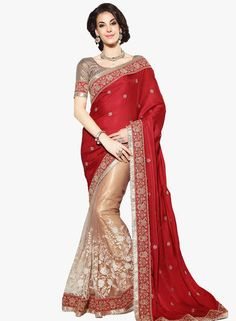 86d52805b3cfa Buy Ishin Red Embroidered Saree for Women Online India