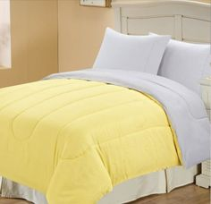 Campus Solid Reversible Comforter Yellow White Twin Bedding Master One Would Always Be On And Will Gray Love It