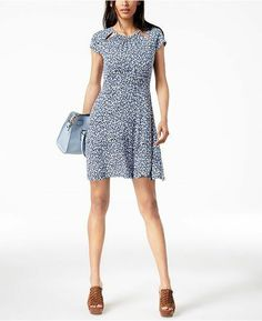 95565be726d089 Michael Kors Cutout Fit Flare Dress True Navy/Light Chambray PS New $98.00  #MichaelKors