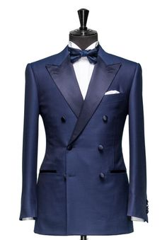 Navy Satin Lapel Custom Made Suit