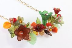 Floral and Leaf Necklace Fall Colors by #NancysCrystalFantasi, $46.00 #jewelryonetsy #jetteam