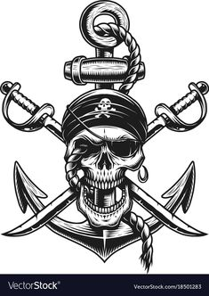 Pirate skull emblem with swords anchor Royalty Free Vector Crown Tattoo Design, Skull Tattoo Design, Tattoo Design Drawings, Skull Design, Pirate Skull Tattoos, Skull Hand Tattoo, Pirate Ship Tattoos, Deco Pirate, Pirate Art