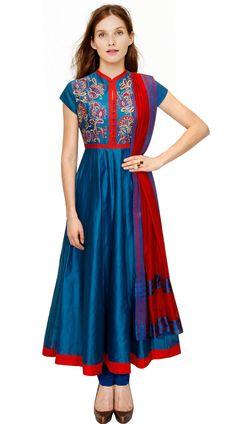 1e39df027f1d5 Beautiful Blue Silk Plus Size Salwar Kameez With Dupatta Anarkali Churidar