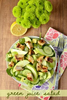 Green Juice Salad | iowagirleats.com - green apples, green grapes, spinach, cucumber, grilled chicken with a honey-lemon vinaigrette